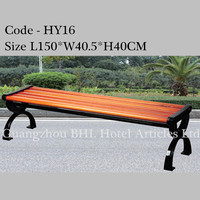commercial hospitality supplies outdoor furniture wooden bench for park street tourist rest long chairs iron wood bench HY16