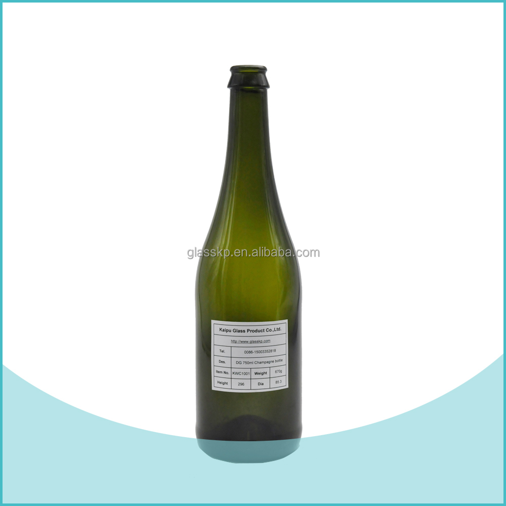 Empty 750ml Sparkling Wine Glass Bottle Flint & Green Color