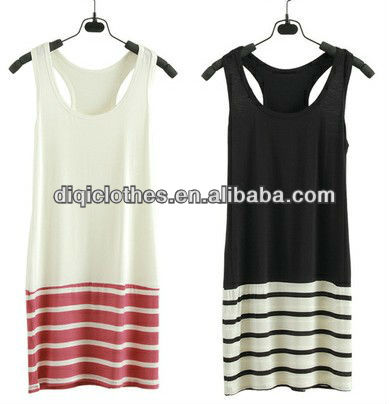 95%viscose 5%spandex newest trendy style red and white stripe long ladies tanktops with skirt