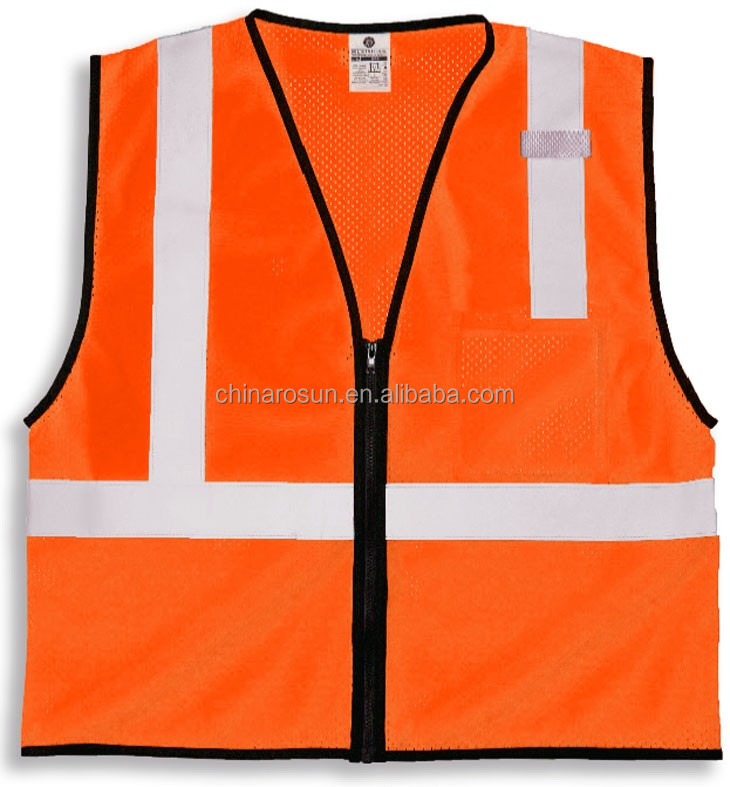 ANSI EN20471 Class 2 Mesh Fabric Safety Vest with Zipper Incident Command Vests 100% Polyester mesh Left chest pocket & mic tab