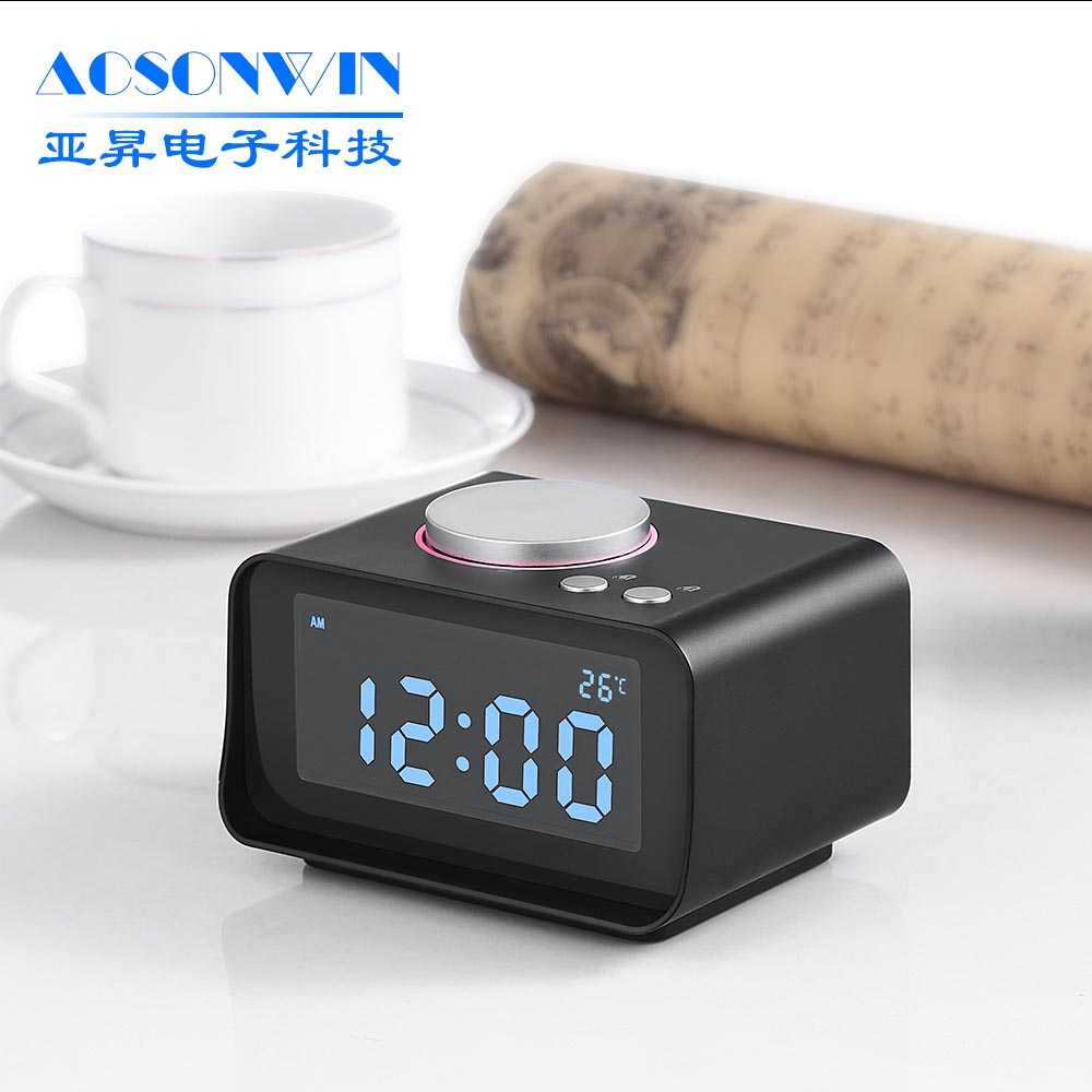 Digital modern design FM radio alarm clock with snooze function