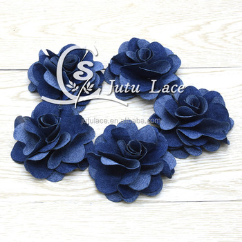 New Hot Sale!! 3'' denim rose flower for baby fashion accessories