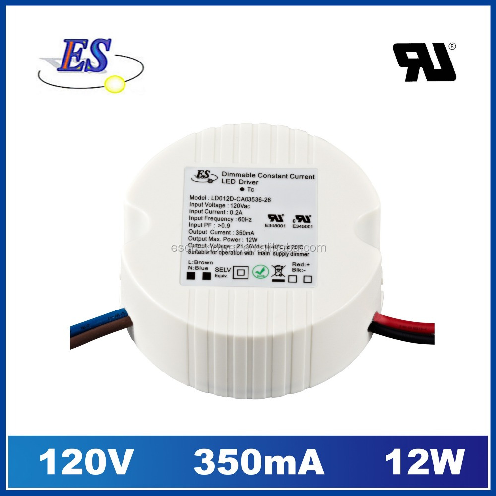 12W 36V ac to dc constant current triac dimmable led driver 300ma