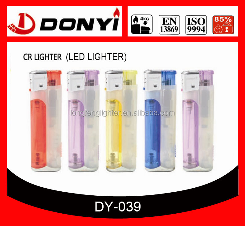 Refillable plastic electronic lighters/transparent/printing logo plastic lighters Smoking with LED