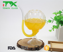 drinking tea water handmade clear glass cup with straw