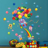 Colorful Balloons Design DIY Removable PVC Decals Wall Stickers 45x60cm for Children Room Decoration PVC Home Decor Wall Sticker
