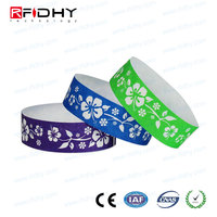 Nice price custom printing mifare Ultralight Alien paper RFID Wristband for one time use
