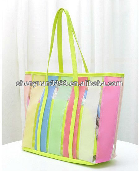 High quality factory price elegant tote bag,clarity pvc tote bag
