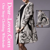 Sexy Womens Mohair Long Cardigan Sweater with Jacquard Patterns