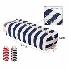 Blue white Stripe Canvas Cylindrical Pencil Case- Premium Quality Zippered Pencil Pouch To Be Used As A Pencil Holder