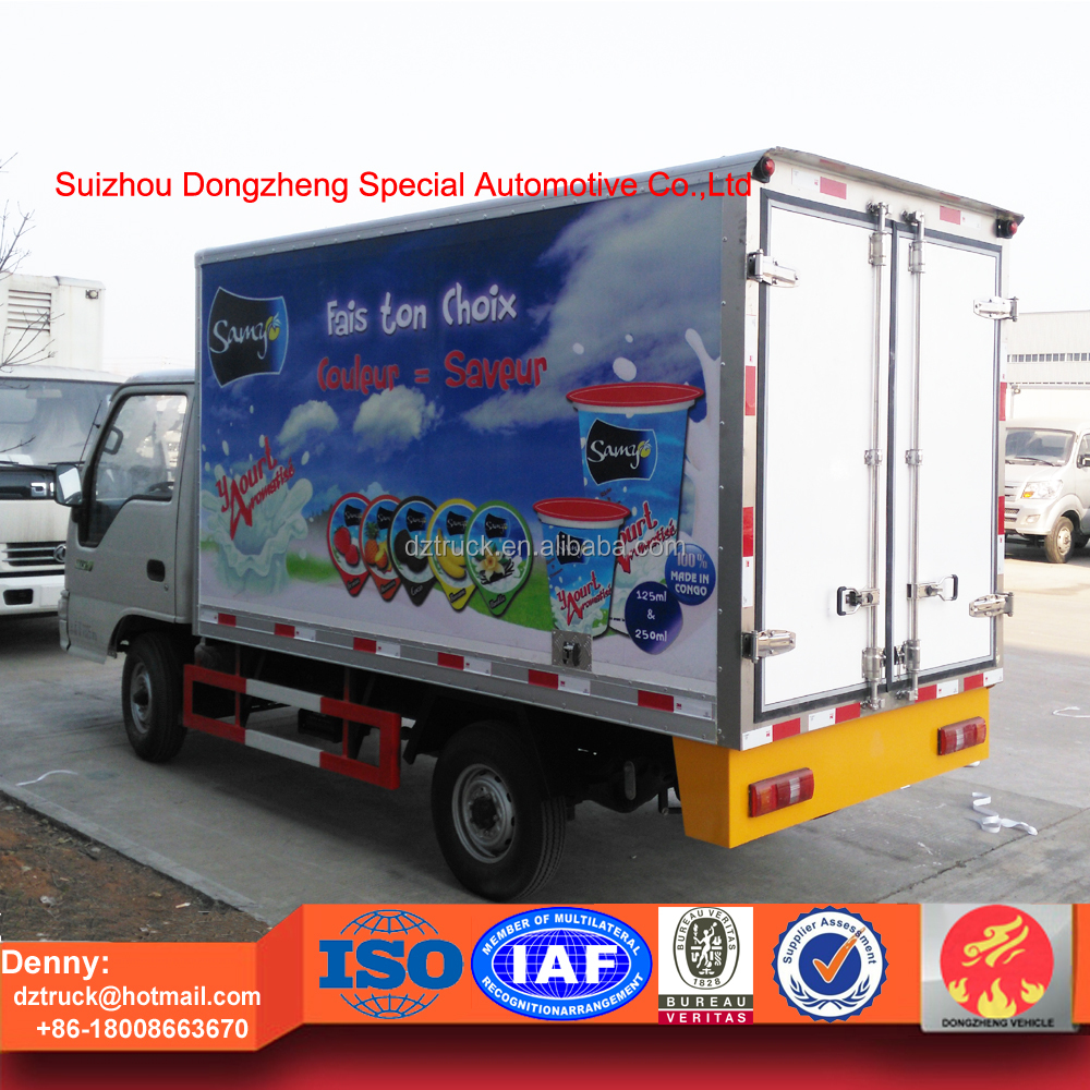 Export to Congo 2016 new coming gasoline 2tons reefer truck for ice cream and yogurt transportation for sale