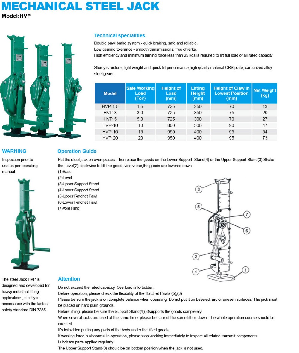 high quality HVP mechanical rack jack,mechanical track jack