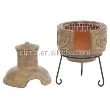 Clay chimeneas fire pit with BBQ grill and metal stand