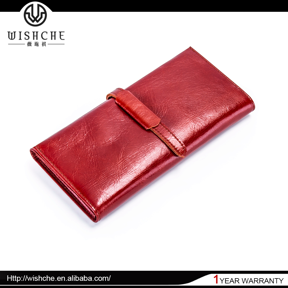 Wishche Hot Selling Latest Design Famous Brand Lady Leather Wallet Fashion Billfolds Wallets Red Women Purse Money Bags W2152
