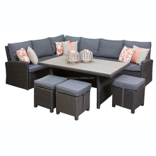 Luxury Large Grey Rattan Corner Sofa Dining Table Set Garden Patio Furniture