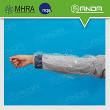 ADE002 Ecofriendly Disposable plastic arm length gloves with 5 fingers