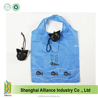 Cat Shape Portable Resuable Tote Cheap Prined Nylon Foldable Shopping Bag