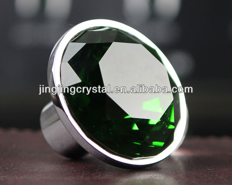 30mm Green Boutique Diamond Insert Crystal Knob & Handle for furniture in silver <strong>hardware</strong>