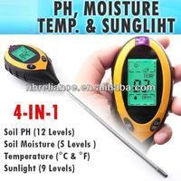 Digital 4 Way Soil Analyzer for plant and lawn - pH, moisture, temperature and light tester