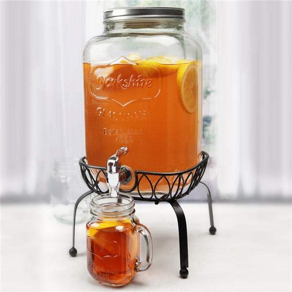 2 Gallon Mason Glass Jar Beverage Dispenser With Stand