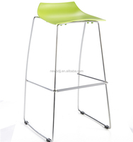 Modern steel metal colored plastic bar stool chair with pedal