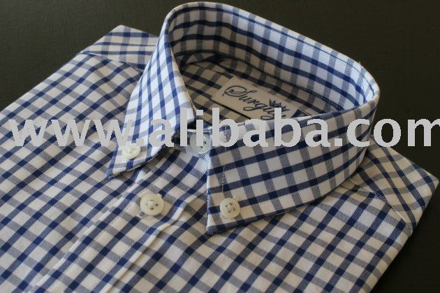 Surguy Boys shirt Navy Blue check. Button down, long sleeve with rear centre pleat