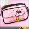 Cute design round pvc clear makeup bag, travel clear cosmetic pvc bags