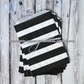 BLACK STRIPED FAVOR BAGS -BLACK - MEDIUM crafty colorful BIG STRIPE paper bags party favour giveaway striped treat bags