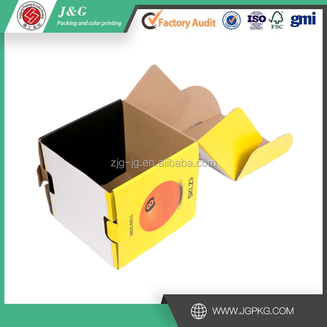 Custom corrugated paper box folding paper box with window soccer ball box packaging