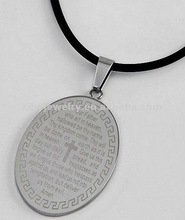 Stainless Steel / Black Cord / Oval Message Pendant / Men's Necklace