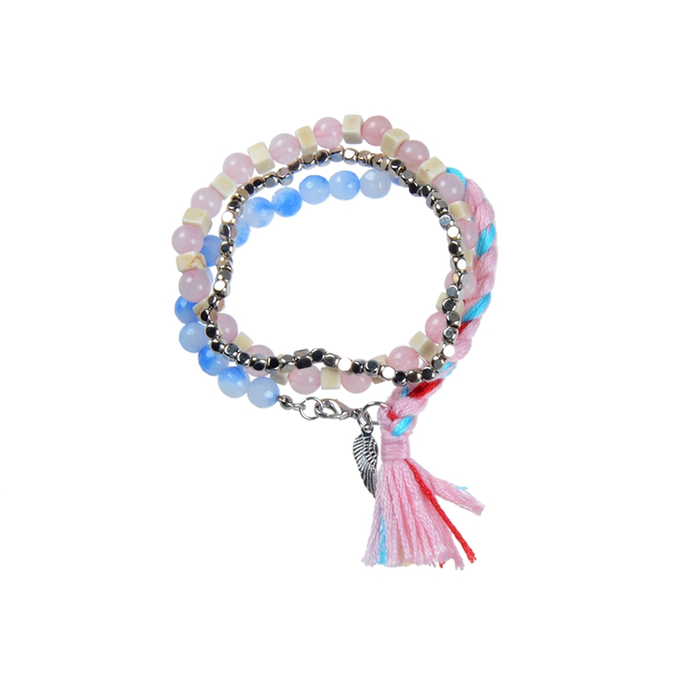 Multi-layer Mix Beads Woven Cotton Tassel Angel Wing Bracelets On Sale