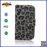Luxury Leopard Wallet PU Leather Stand Holder Mobile Phone Case Cover for Samsung Galaxy S4 I9500 Wholesale Price 2014 Laudtec