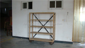 industrial wooden living room wall shelf with wheels