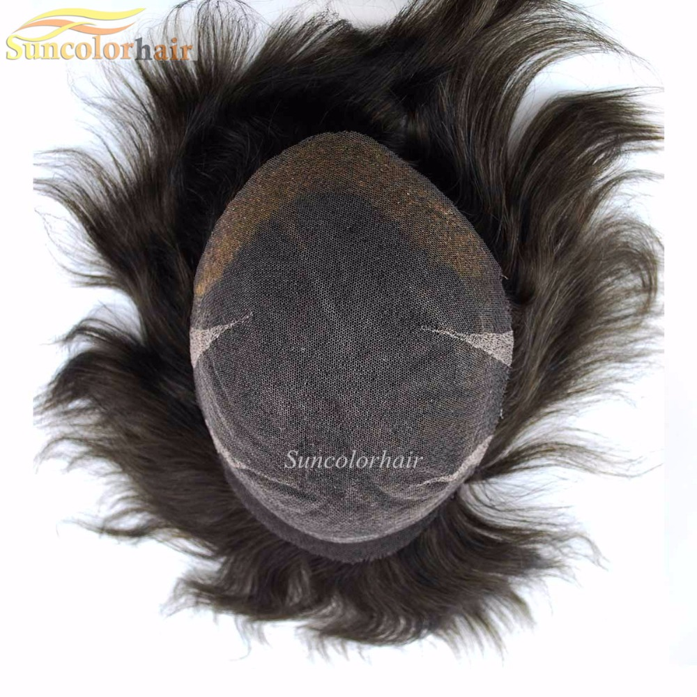 High Quality Very Fine Human Hair Integration Pieces Hair Replacement System for Men