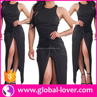 Black sleeveless one piece adult lady girls sexy indian party dress