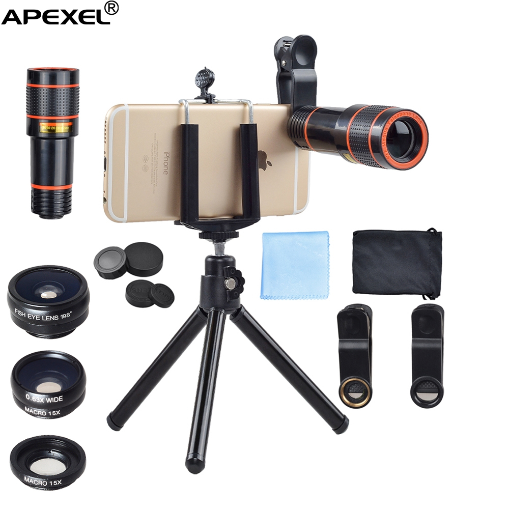 Amazon top seller 2017 cell phone lens universal clip mobile phone ultra zoom 12x telescope telephoto lens kit with tripod