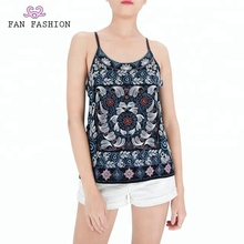 2018 latest polyester bead embroidery backless tank top for women