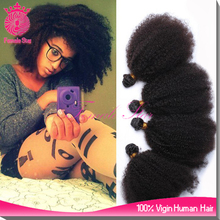 Female star black remy mongolian curly human hair weave afro kinky braids