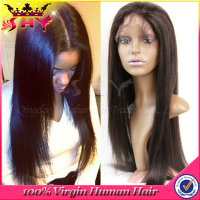 Wholesale long black silky straight remy human hair lace front wig in dubai