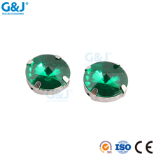 guojie brand round sew on clothing claw with clear green acrylic stone
