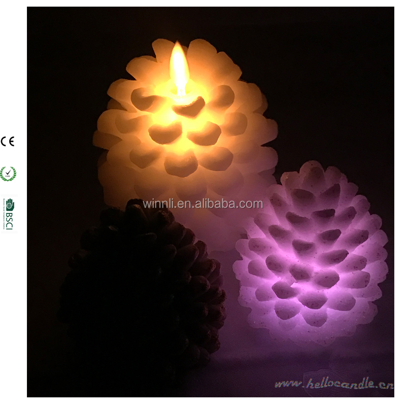 led pine cone wax candles flickering Amber dancing flame timer wax candles