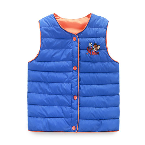 2015 Autumn Winter Cartoon Duck Down Vest For Baby Boys Girls Candy Colors Brand Children Waistcoat Vest Kids Clothes Outwear