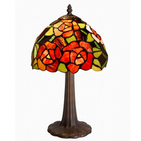 China factory vintage 8 inches wide tiffany fancy style table lamp with flower