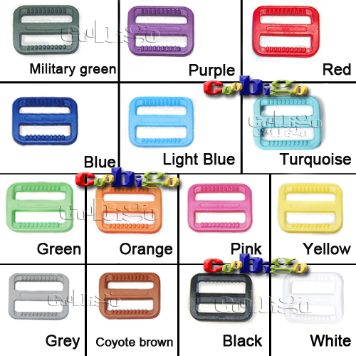 Multi-Color Plastic Colorful Slider Tri Glide Adjust Buckles For Dog Collar Harness Backpack Straps #FLC079(Mix-s)