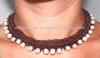 Necklace Handmade Fresh Water Pearl Pretty Brown in Thailand FAIR Trade Jewelry