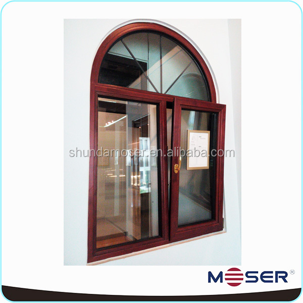 wood arch turn and tilt double glass casement window