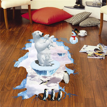 Polar bear Mom and baby floor stickers 3D waterproof vinyl wall decals for kids bedroom diy home decor living room arts pictures