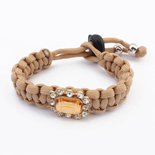 Linen jewelry rope clear acrylic bracelets artificial gold plated metal charms for paracord bracelets PB1971