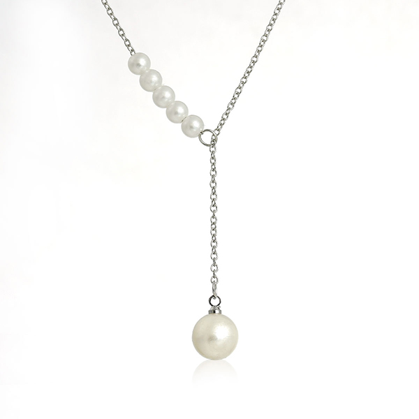 New Fashion Link Cable Chain Silver Tone With White Acrylic Pearl Imitation Pendant Y Shaped Lariat Necklace