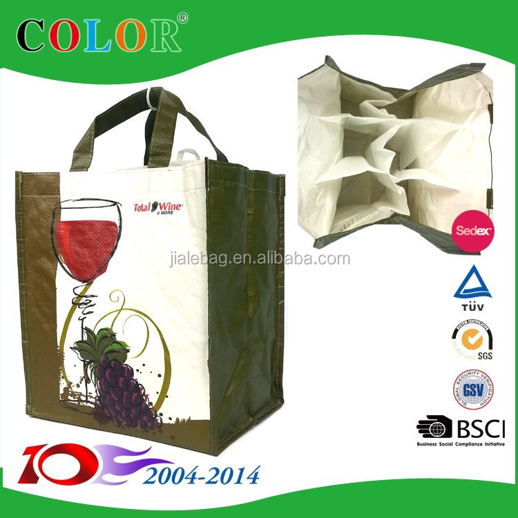 Sedex audit factory pp woven 6 bottle wine bag
